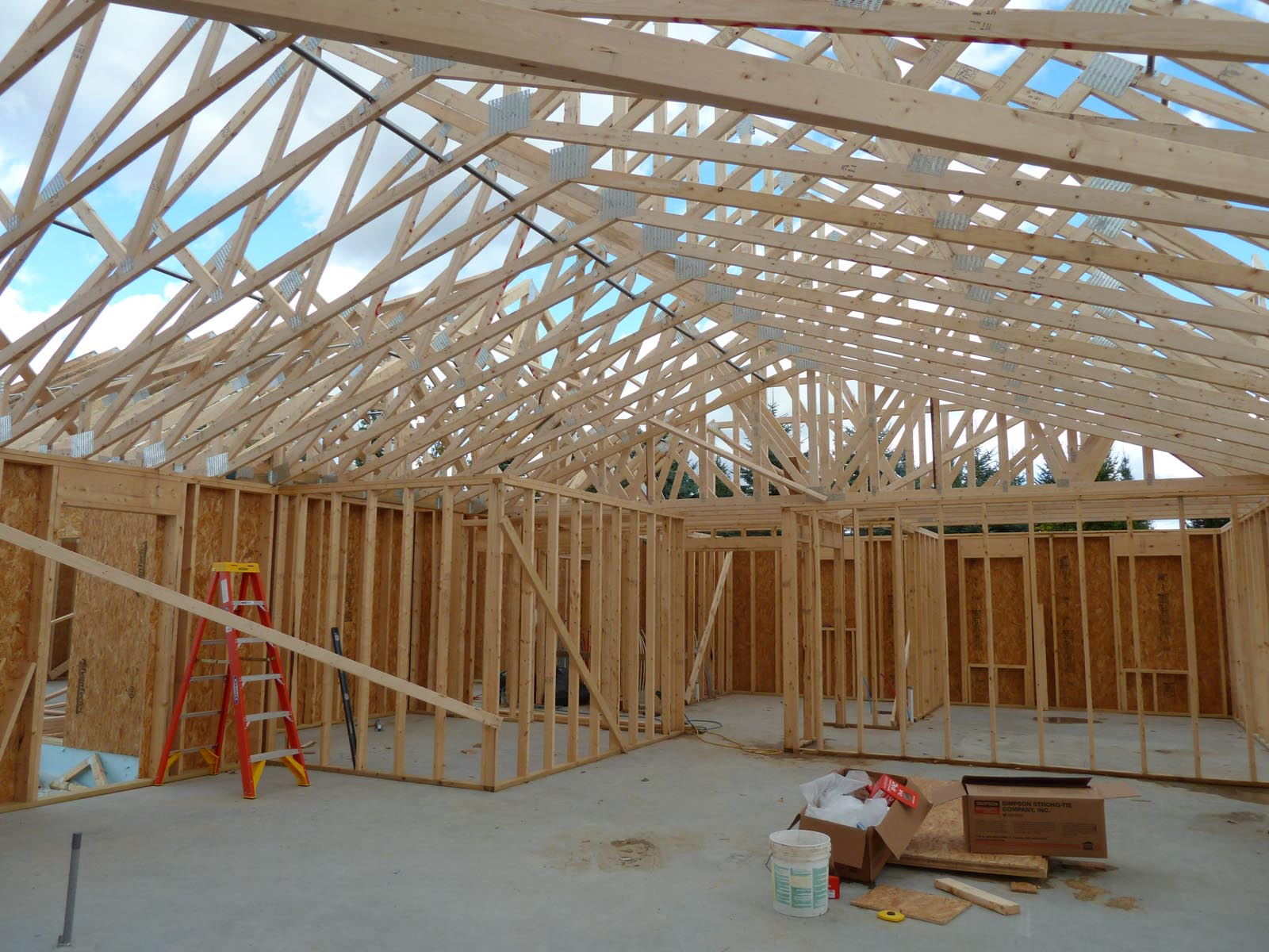 Roof trusses day 2 quadomated for Cathedral ceiling trusses