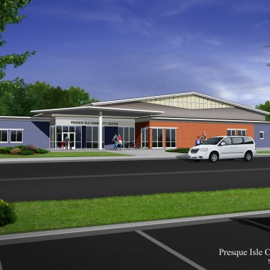 Presque Isle Community Center - Building Design Concept Front Entrance Rendering