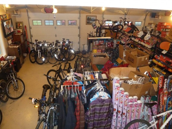 Our Garage Loaded to the Ceiling with Rocky Mountain Sports Inventory