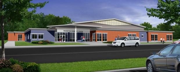 Presque Isle Community Center - Building Design Concept Front Entrance Rendering